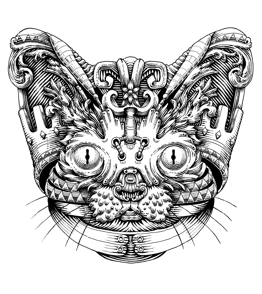 04-Cat-Alex-Konahin-Ornate-Details-in-Animal-Drawings-www-designstack-co