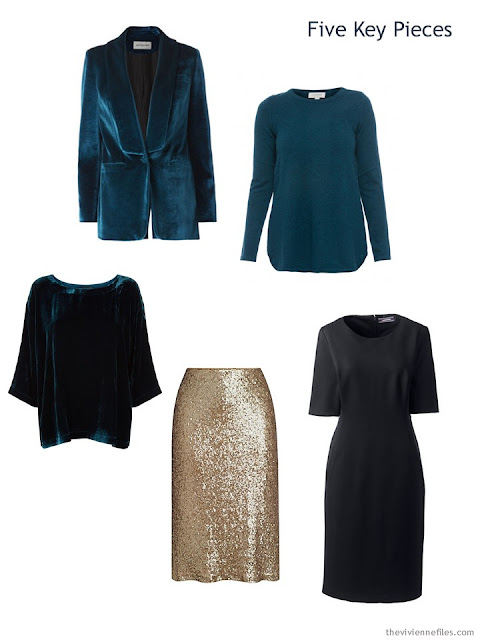 Five Key Pieces in teal, gold and black