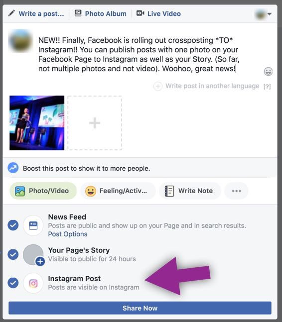 Now You Can Cross-Post To Instagram Directly From Facebook (Without switching the social network / apps)