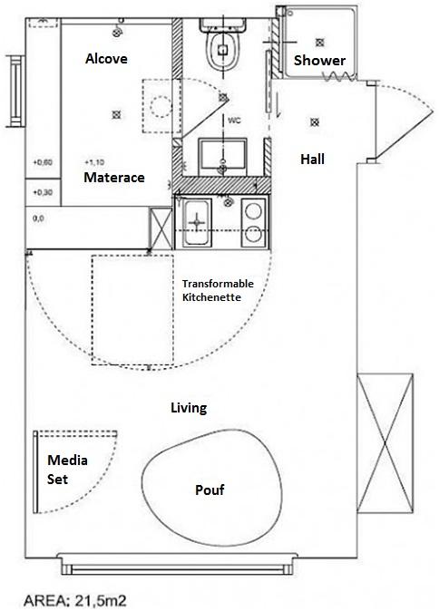 SMALL APARTMENT PLAN TAMKA 22 M2 FLAT HOUSE : HOME PLANS DESIGN