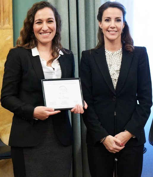Princess Marie wore Hugo Boss Casimiri silk blend blouse and Jewlscph earrings at L'Oréal UNESCO event