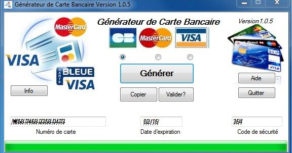 TÉLÉCHARGER GENERATEUR DE CARTE BANCAIRE VERSION 1.0.5
