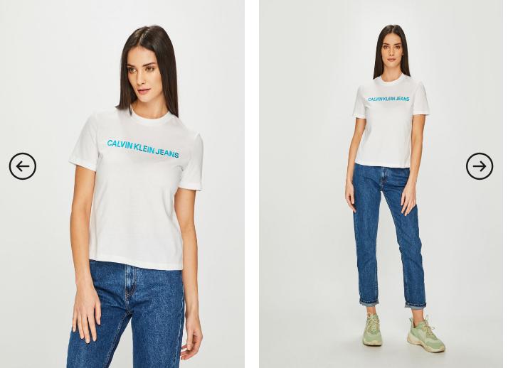 Top femei original alb/ negru cu scris pret mic online Calvin Klein Jeans