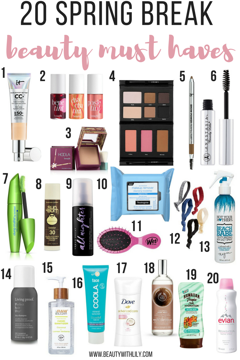 What To Pack For Spring Break // Beauty Essentials To Pack On Spring Break | beautywithlily.com