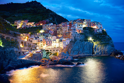 The Cinque Terre Village of Manarola in Twilight