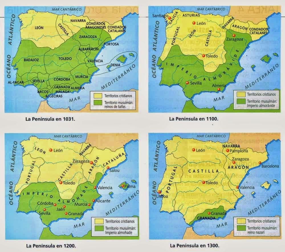 Resultat d'imatges de map al andalus different periods