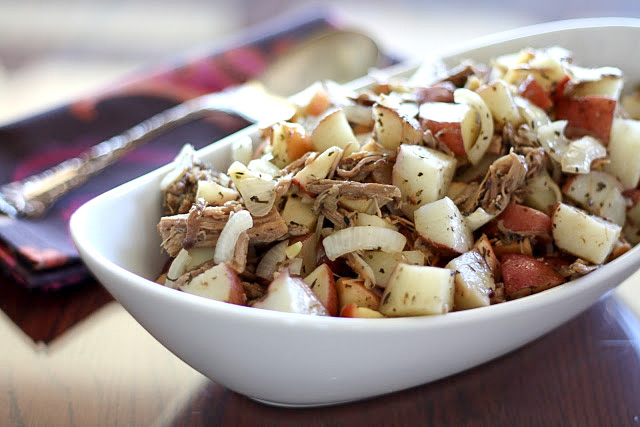 Roasted Italian Pork with Apples and Potatoes - get the recipe at barefeetinthekitchen.com