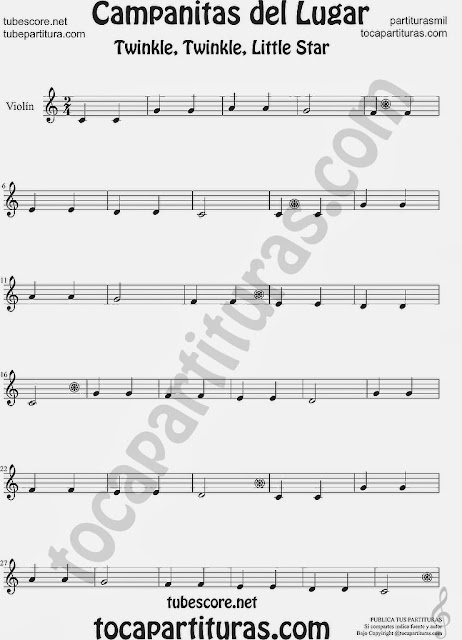 Partitura de Campanitas del Lugar para Violín Villancico Christmas Carol Song Twinkle twinkle little Sheet Music for Violin Music Scores Music Scores