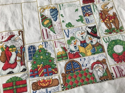 Cross Stitch Christmas ABC sampler in progress