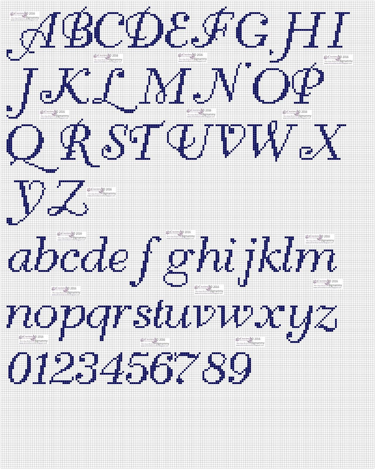 amorevitacrocette punto croce alfabeti in corsivo