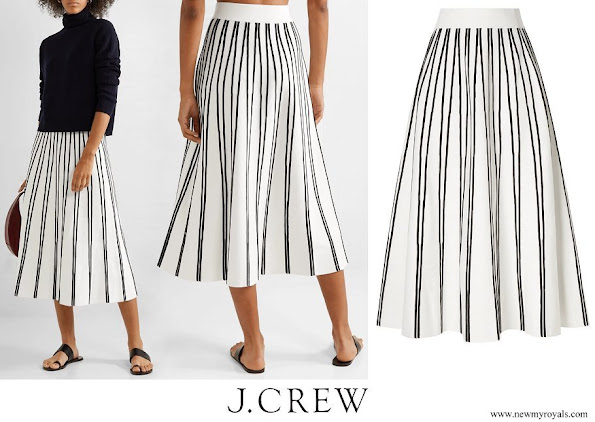 Meghan Markle wore J. CREW Striped knitted midi skirt