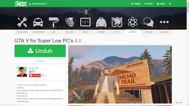 Website yang menyediakan Low End Patch GTA5, GRATIS!