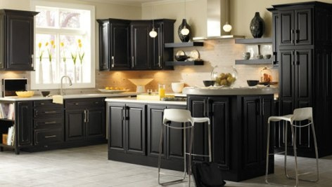 Gabinetes de cocina negros muy elegantes cocina y muebles for Gabinete de cocina de pared de color blanco