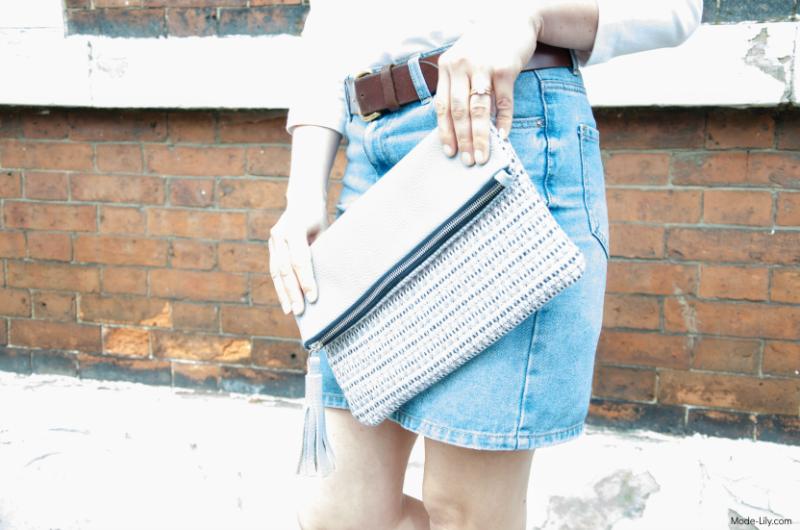 Summer Outfit - Joules Jersey Top | Denim Skirt | Fibre and Hide Clutch Bag