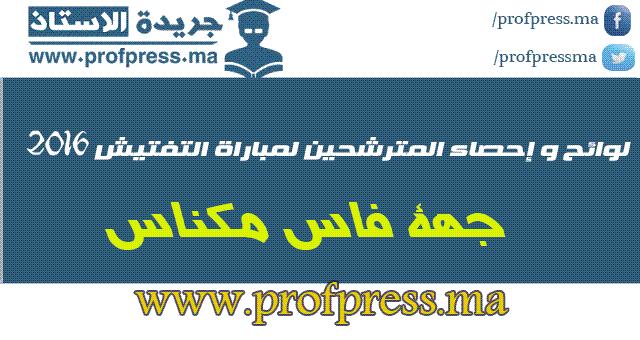 جهة مكناس-فاس:لوائح و إحصاء المترشحين لمباراة التفتيش 2016
