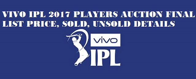 VIVO IPL 2017 PLAYERS AUCTION FINAL LIST PRICE, SOLD, UNSOLD DETAILS