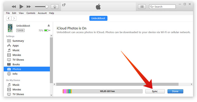 sync iphone photos to pc