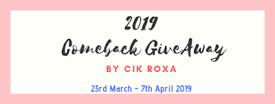 2019 Comeback GiveAway by Cik Roxa, Blogger, Blogger Giveaway, Hadiah,