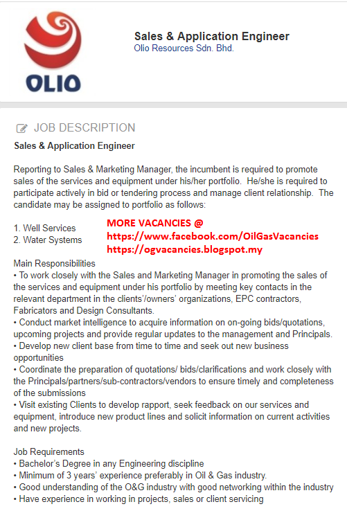 Sales U0026 Application Engineer  Olio Resources  Malaysia