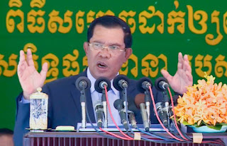 Hun Sen speaks during an inauguration ceremony yesterday, where he warned against calling Kem Ley's death political. Photo supplied