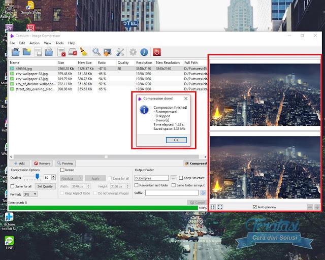 Proses Kompres Gambar Selesai - Menu Priview Untuk Membandingkan Gambar - Cara Mudah Kompres Ukuran (Size) Gambar Tanpa Mengurangi Kualitas - Teratasi.Com