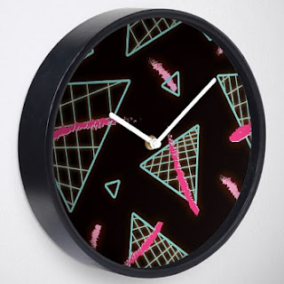 Neon Grid Triangles Wall Clock