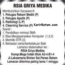 Lowongan Kerja RSIA Griya Medika Batam