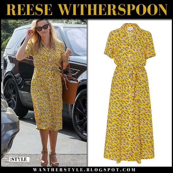 Reese Witherspoon in yellow floral print midi dress hvn and sandals christian louboutin summer style august 20