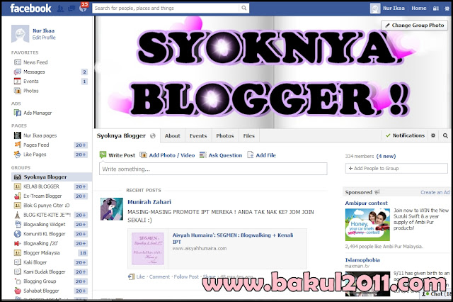Ping group facebook Syoknya Blogger