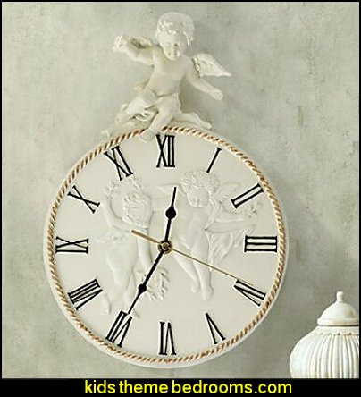 Cupid Theme Embossed Polyresin Wall Clock  mythology theme bedrooms - greek theme room - roman theme rooms - angelic heavenly realm theme decorating ideas - Greek Mythology Decorations - heavenly wall murals - asngel wings decor - angel theme bedrooms
