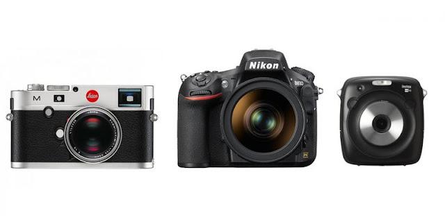 Contoh kamera digital modern. Prinsip kerja masing-masing tipe kamera tetap sama dengan kamera film, hanya saja medium penangkap gambarnya yang berberda. Dari kiri ke kanan: Leica Typ-240 (rangefinder), Nikon D810 (DSLR) dan Fujifilm Instax SQ10 (kamera instan hybrid, dengan sensor digital dan memory card).(Leica, Nikon, Fujifilm)
