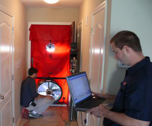 Blower Door Test during an energy audit