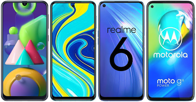 Samsung Galaxy M21 vs Xiaomi Redmi Note 9S vs Realme 6 vs Motorola Moto G8 Power