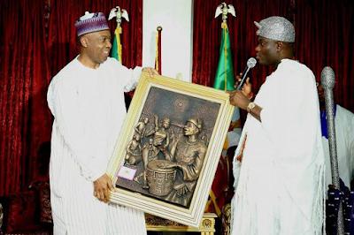 Saraki hosts Ooni of Ife Oba Adeyeye Ogunwusi