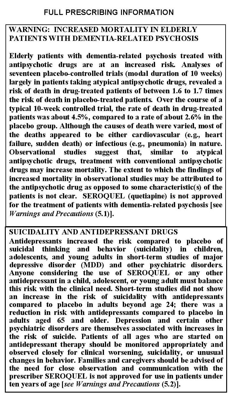 אזהרת ה-FDA על שימוש בנוגדי דיכאון, תרופות אנטיפסיכוטיות וסרוקוול