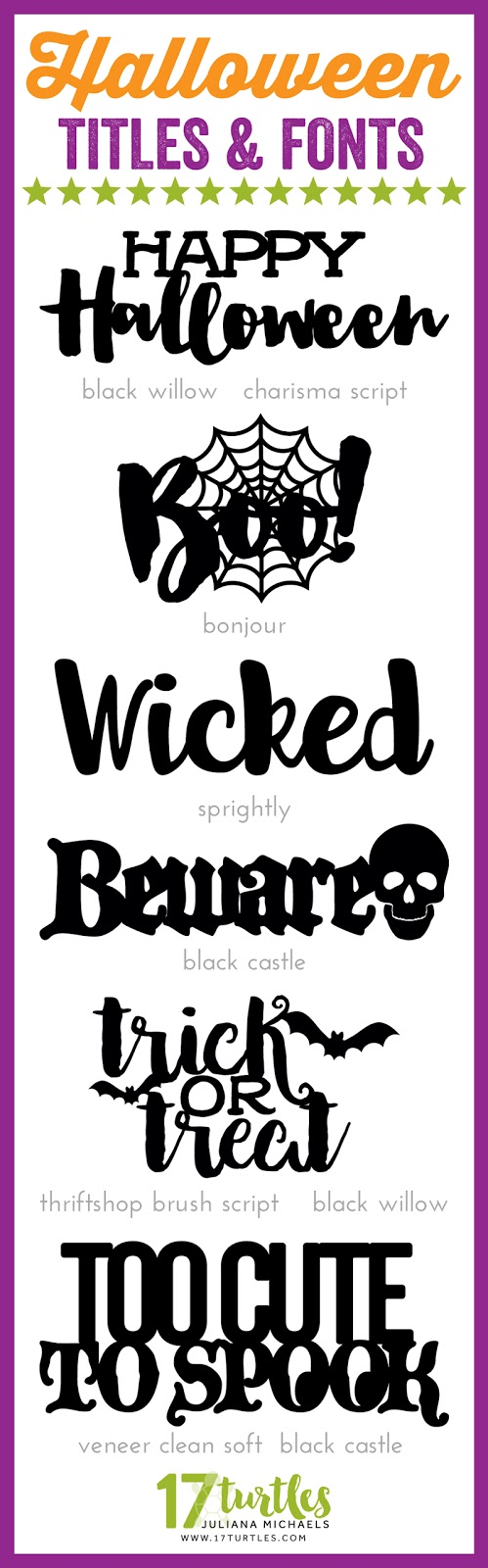 Halloween Titles and Fonts by Juliana Michaels 17turtles