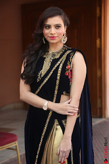 Priyanka Ramana in Beautiful Designer Black Saree At We Craft Elegance Expo Launch 062.JPG