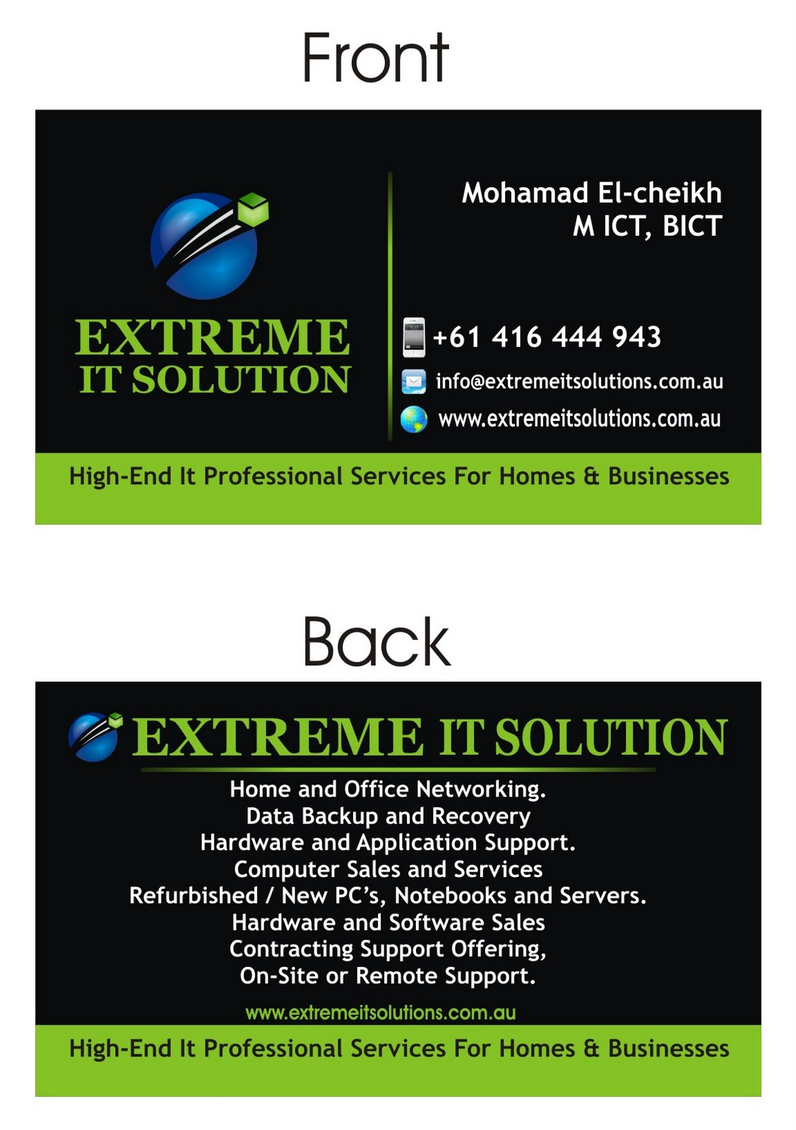 Extreme IT Solutions Business Cards Design By