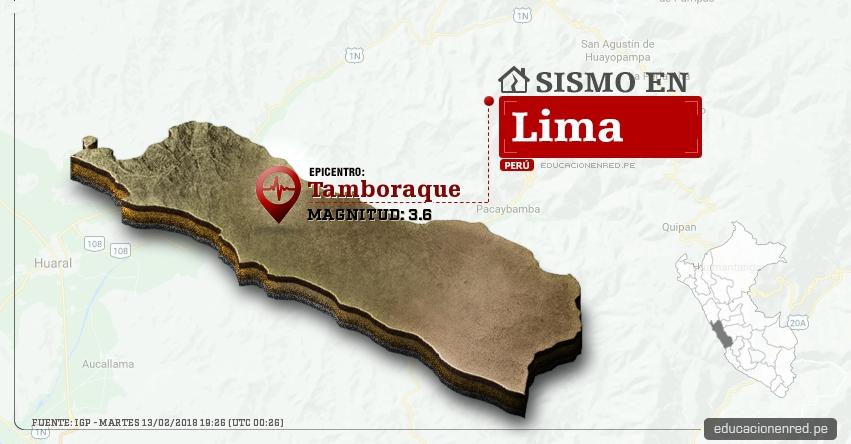 Temblor en Lima de magnitud 3.6 (Hoy Martes 13 Febrero 2018) Sismo EPICENTRO Tamboraque - Huarochiri - IGP - www.igp.gob.pe