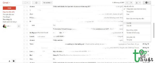 Cách cài hình nền cho giao diện Gmail