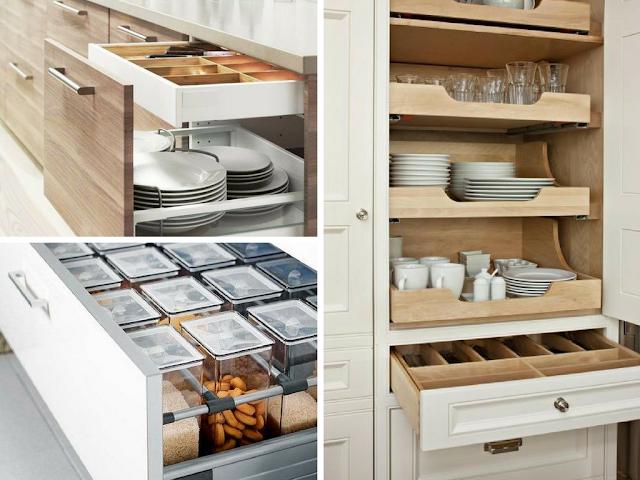 Organização de armários e gavetas de cozinha