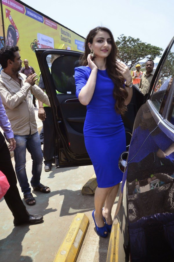 Soha Ali Khan in blue dress