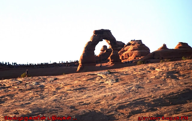 View of the Delicate Arch at sunset
