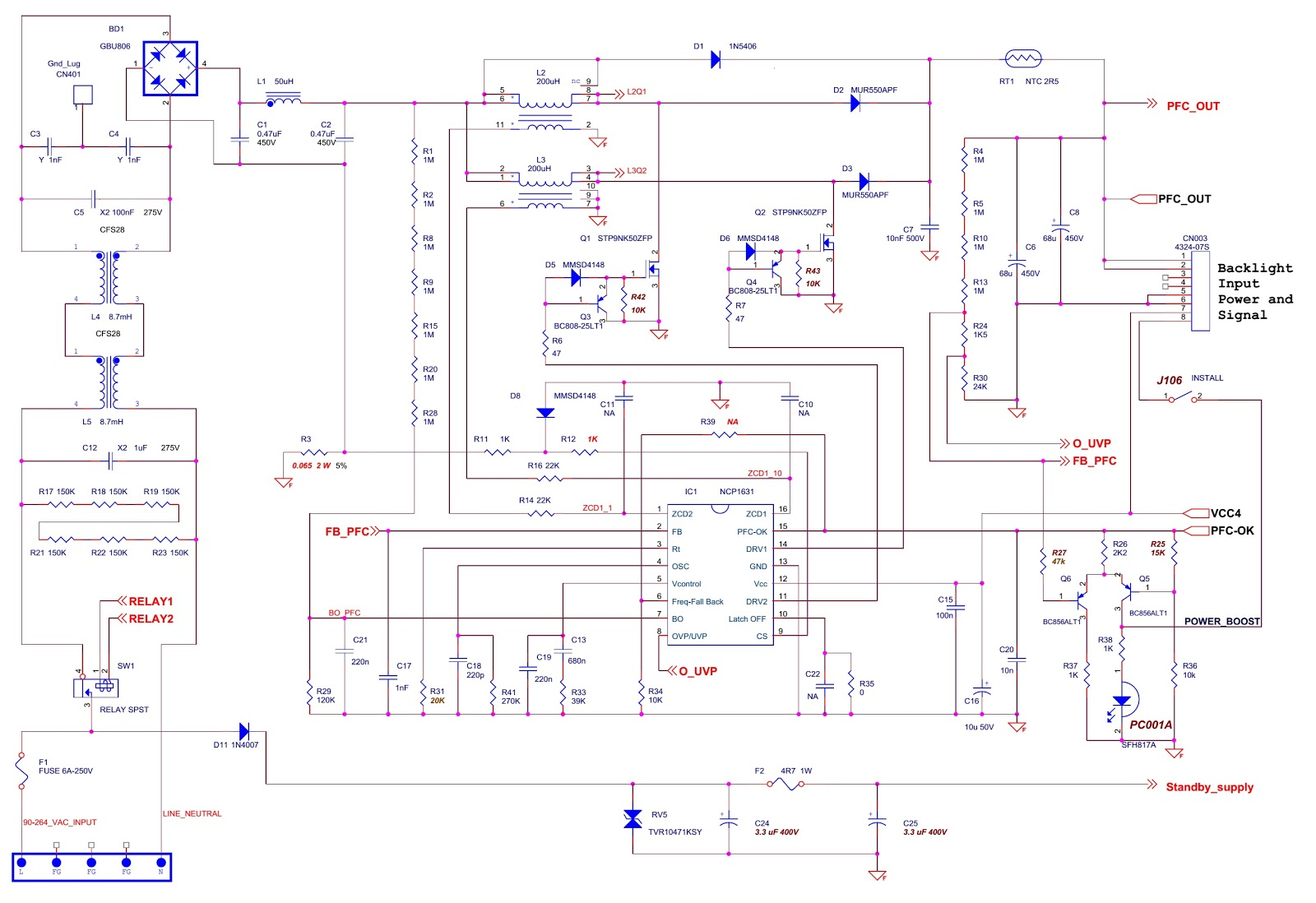 46 inch lcd tv smps schematic [ 1600 x 1098 Pixel ]