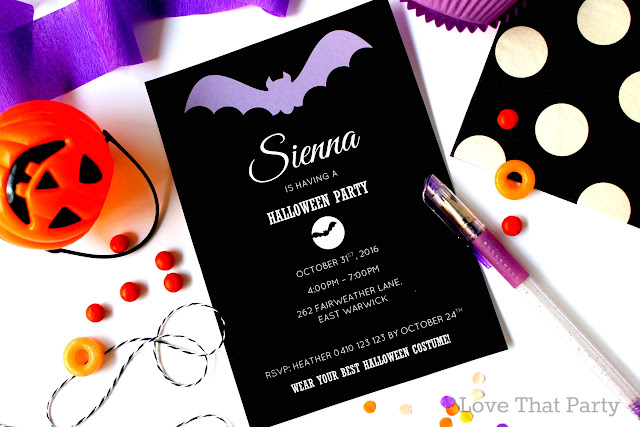 image of black and purple bat girl Halloween invitation and party supplies