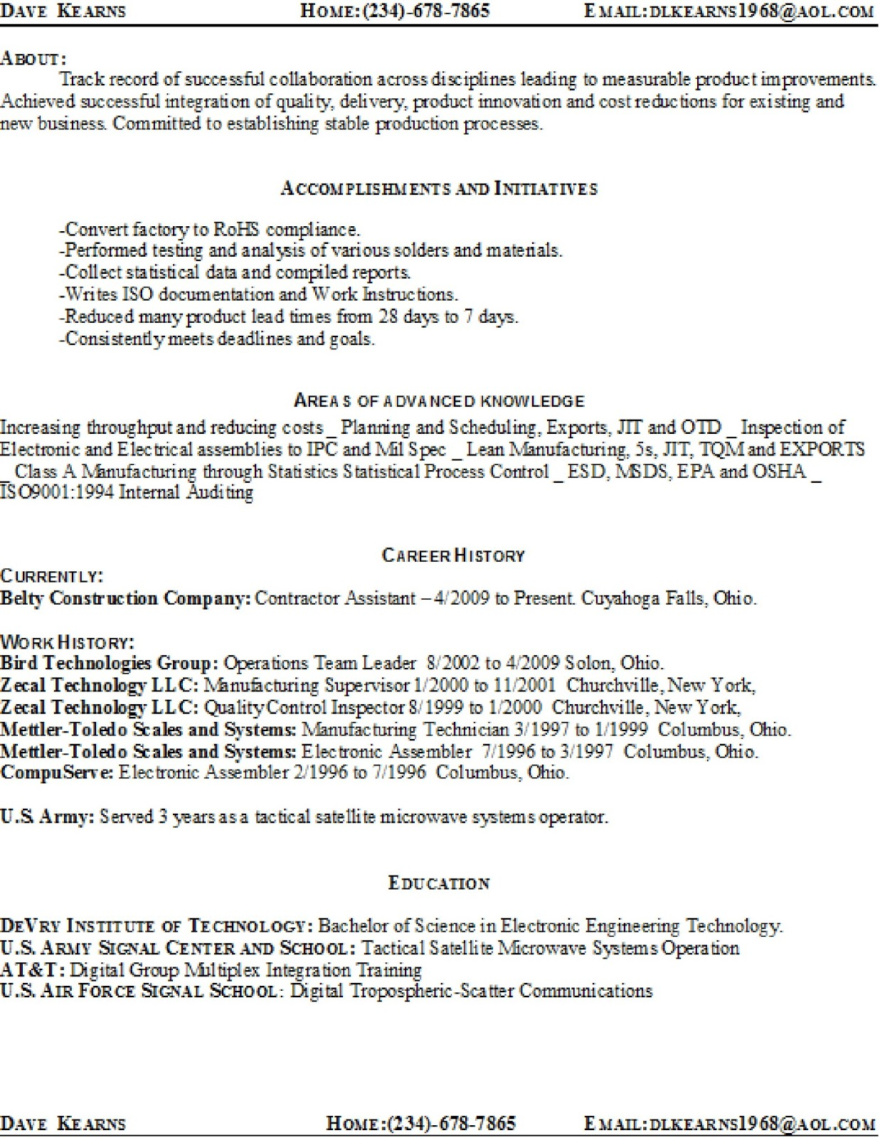 Lean Manufacturing Resume. template examples engineering 2015 ...