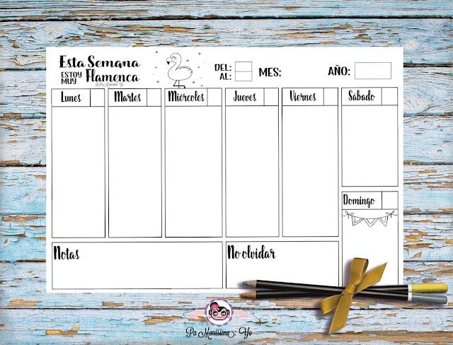 planificador imprimible semanal flamenca monerias en fieltro pamonisimayo freebie.jpg