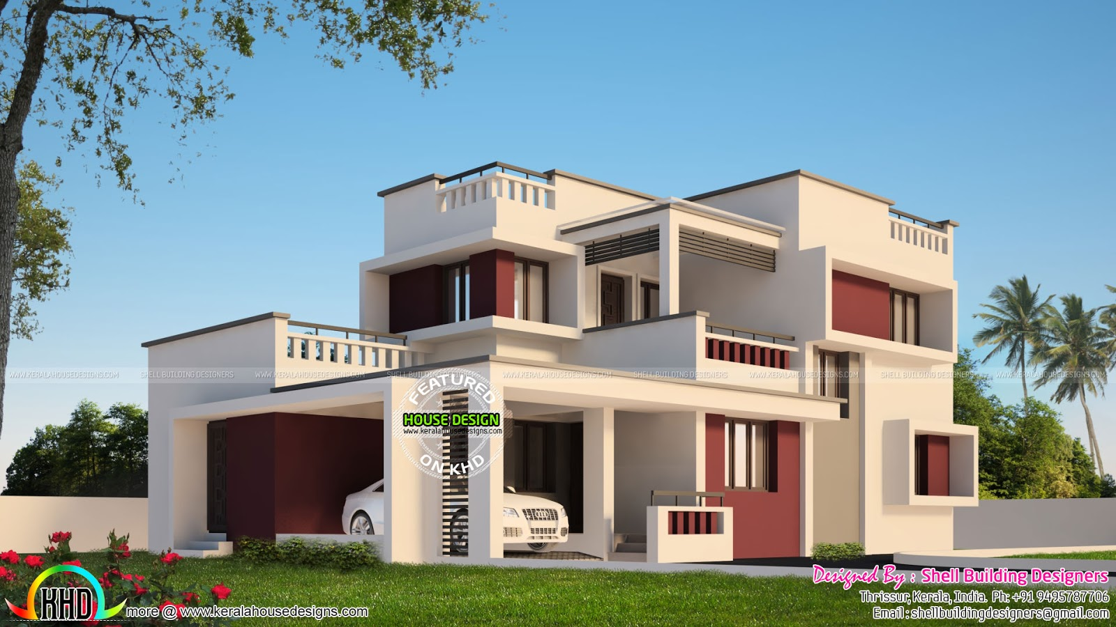 Box type modern home kerala home design and floor plans for Modern box type house design