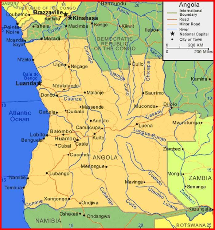 Angola Map of Africa - Peta Dunia   Sejarah Indonesia - World Map ...