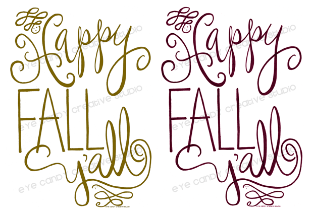 gold fall print, wine fall print, hand lettering, hand lettered FALL art print